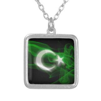 Pakistan flagga silverpläterat halsband