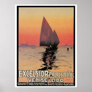 PalaceTravel för vintageVenedig Excelsior annons Poster