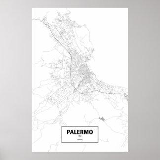 Palermo italien (svarten på vit) poster
