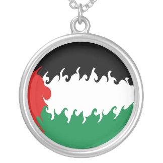 Palestina Gnarly flagga Halsband Med Rund Hängsmycke