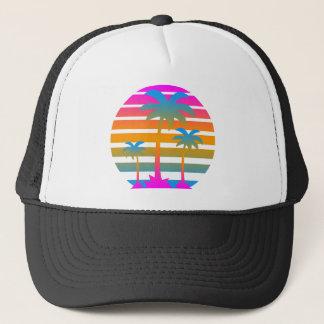 Palmträd för solnedgång för Corey tiger80-tal Truckerkeps