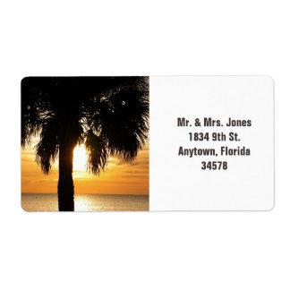 Palmträd i etikett för Florida solnedgångadress Fraktsedel