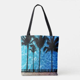 Palmträd med grafisk toto för vattenreflexion tygkasse