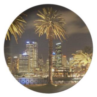 Palmträd och CBD på natten, Sydney, ny söder Tallrik