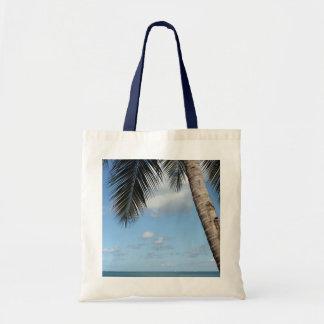 Palmträd och karibiskt hav budget tygkasse
