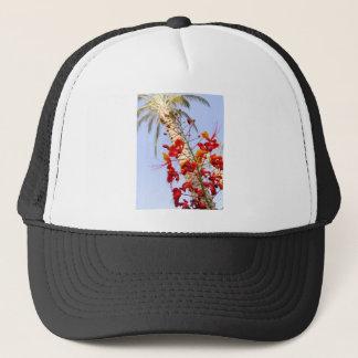 Palmträd och röd blomma keps