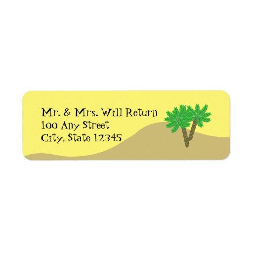 Palmträd och Sand Returadress Etikett