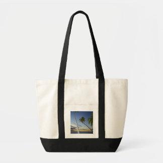 Palmträd och solnedgång, koloniösemesterort tygkasse