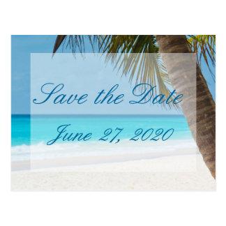 Palmträd på strandbröllop spara datumvykort vykort