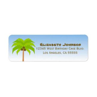 Palmträdadressetikett Returadress Etikett
