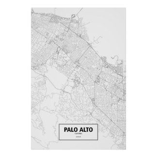 Palo Alto Kalifornien (svarten på vit) Poster