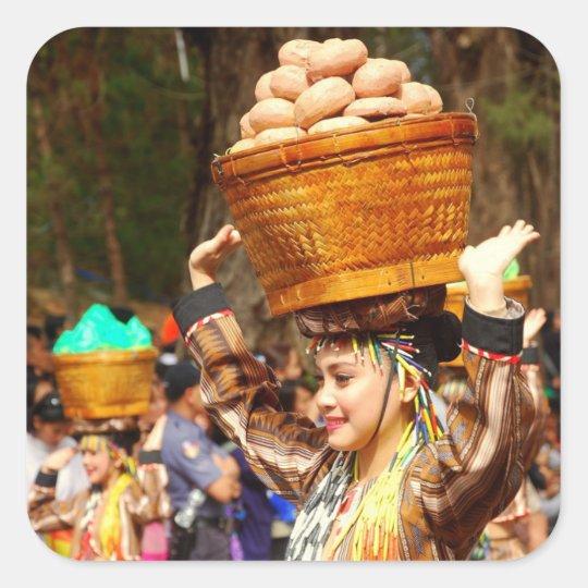 Panagbenga festival fyrkantigt klistermärke