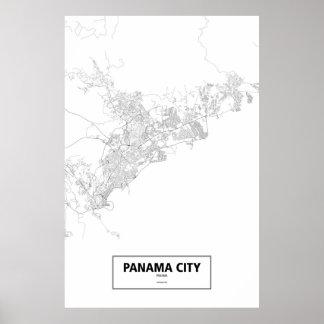 Panama City Panama (svarten på vit) Poster