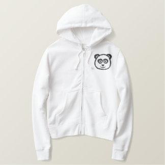 Panda broderade Hoodies Broderad Luvtröja