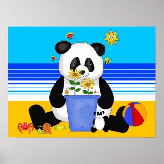 Panda för affischkonstbarn på stranden poster