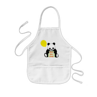 Panda med ålder & mer för Ballonanpassadenamn Barnförkläde