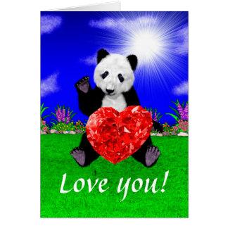 Panda med juvelhjärta hälsningskort