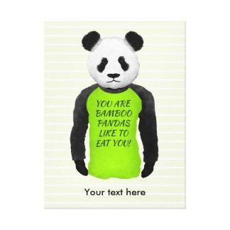 Panda som ha på sig en rolig varningsT-tröja Canvastryck
