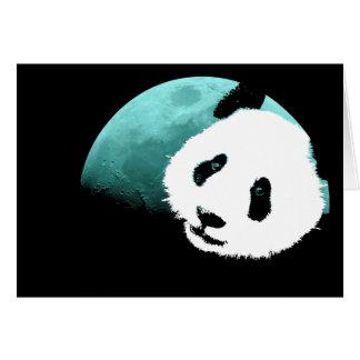 panda vid moon.en hälsningskort