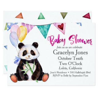 Pandababy shower 12,7 x 17,8 cm inbjudningskort