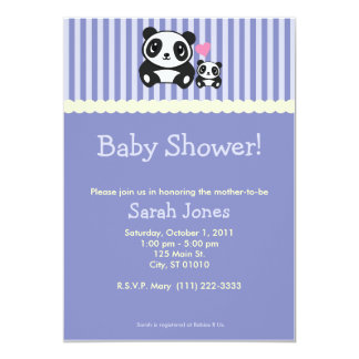 Pandababy shower - lila 12,7 x 17,8 cm inbjudningskort