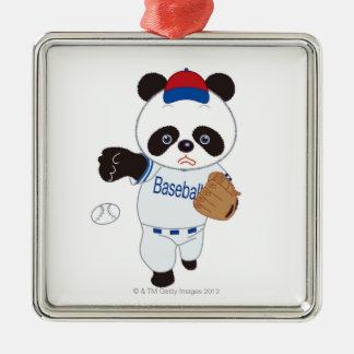 Pandabasebollspelare som kastar en baseball julgransprydnad metall