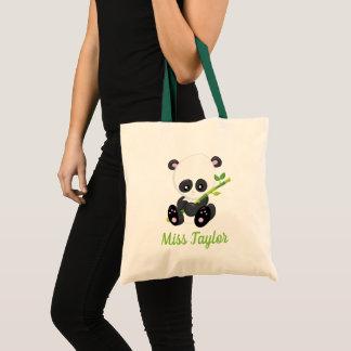 Pandabjörn med bambu tygkasse