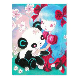 Pandabjörn med den Kawaii flickan Vykort