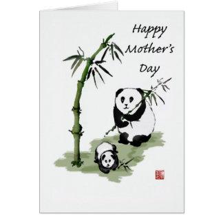 Pandabjörn och bebis, lycklig mödrardag hälsningskort