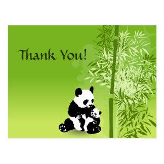 Pandabjörnar och bambutack vykort