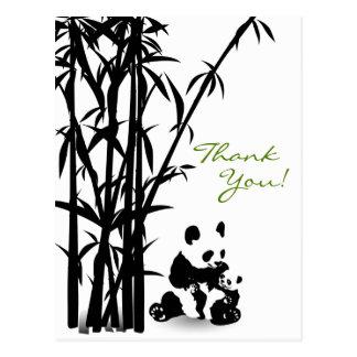 Pandabjörnar och bambutackvykort vykort