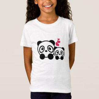 Pandaen kopplar ihop flickat-skjortan tee shirt