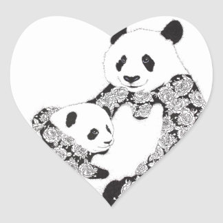 Pandamor & babyunge hjärtformat klistermärke