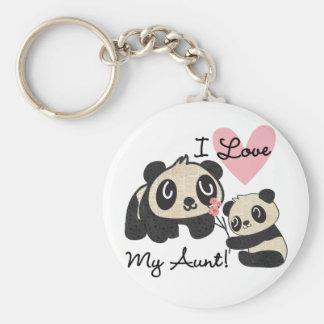 Pandas älskar jag min moster rund nyckelring