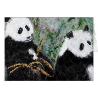 Pandas och den guld- bambun hälsningskort