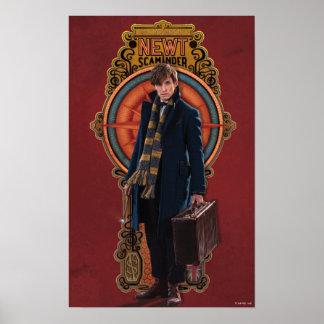 Panel för NewtScamander stå art nouveau Poster