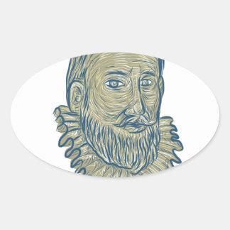 Pank teckning för herr Walter Raleigh Ovalt Klistermärke