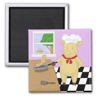 Pannkaka som bläddrar griskockmagneten magnet