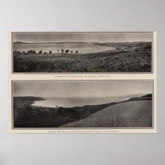 Panorama av fjärden från Presidio den guld- grinde Poster