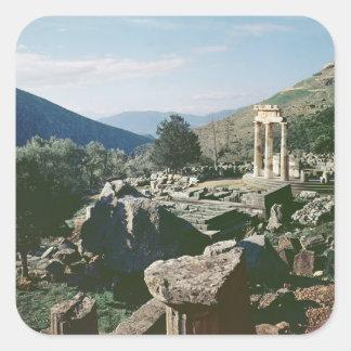 Panorama- beskåda av platsen med tholostempelet fyrkantiga klistermärken