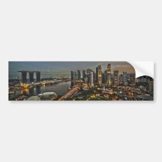Panorama för horisont för fartygkajSingapore stad Bildekal