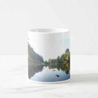 Panorama- höstträd på strandkaffemuggen kaffemugg