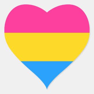 Pansexual prideklistermärkear - hjärtor hjärtformat klistermärke