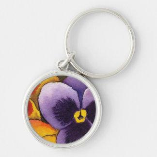 """Pansy 1"" blom- Keychain Rund Silverfärgad Nyckelring"