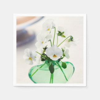 Pansy för blommigt för vas för vitViolasblommor Papper Servetter