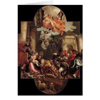 Paolo Veronese- tillbedjan av magina Hälsningskort