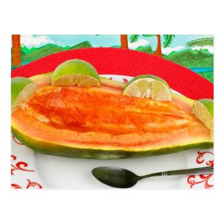 Papayaen med limefrukt med tropiskt beskådar vykort