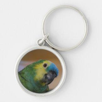 Papegoja Keychain Rund Silverfärgad Nyckelring