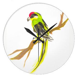 Papegoja på en gren. Vattenfärgmålning. Chinakonst Stor Klocka