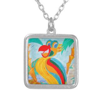 papegoja silverpläterat halsband